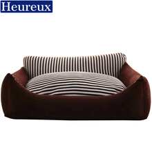 heureux warm dog bed thick black stripe dog house for medium and large dogs washable dog sofa winter use xxxl pet bed