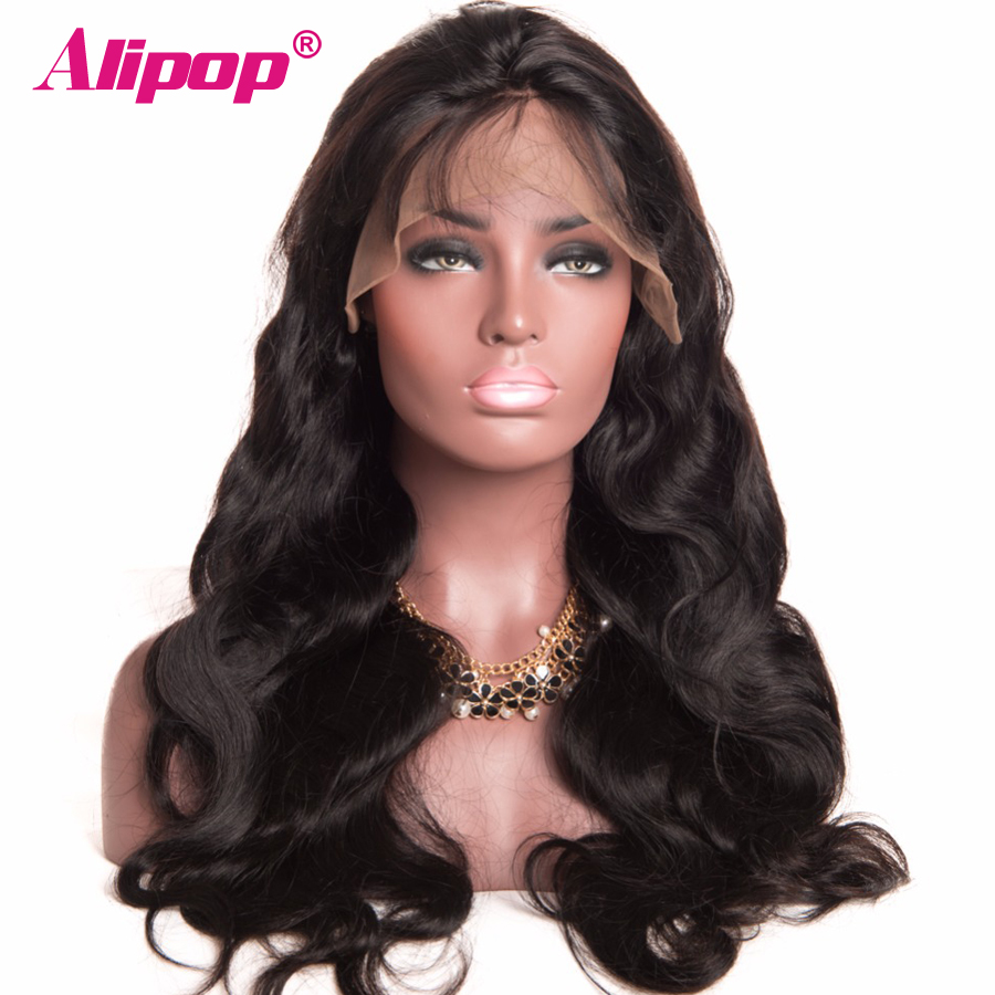 Бразилска телесна вълна Пълна дантела човешки коси перуки за жени черна реми швейцарски дантела човешка коса перуки с бебешки коса ALIPOP дантела перука