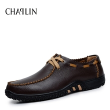 Handmade Genuine Leather Flats High Quality Loafers Men's Lace-up Moccasins Boat Shoes Brand New Driving Shoes 1211