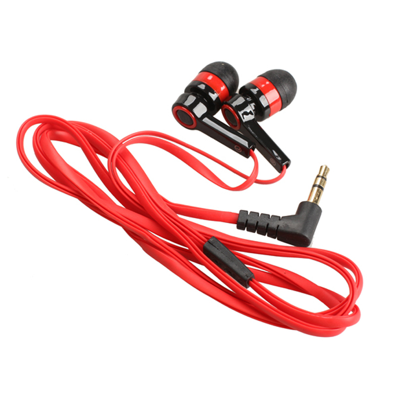 3.5mm In-Ear Earphone Candy Color Symmetric Earphones Compact with Flat Cable Red