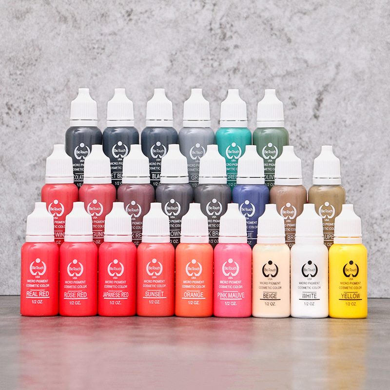 1/2 OZ/Bottle Tattoo Ink Pigment For Permanent Makeup Eyebrow Eyeliner Lip Body Tattoo Art 23 Colors Beauty Tools Free shipping free shipping 3 pp eyeliner liquid empty pipe pointed thin liquid eyeliner colour makeup tools lfrosted purple