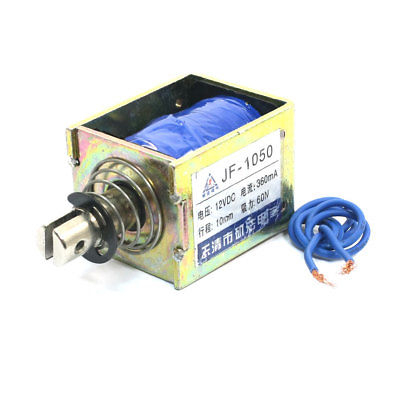 JF-1050 DC12V/DC24V 360mA 60N/10mm Linear Motion Pull Type Solenoid Electromagnet mq8 z45 dc 12v dc24v 10mm 4 8kg motion cirect current solenoid electromagnet