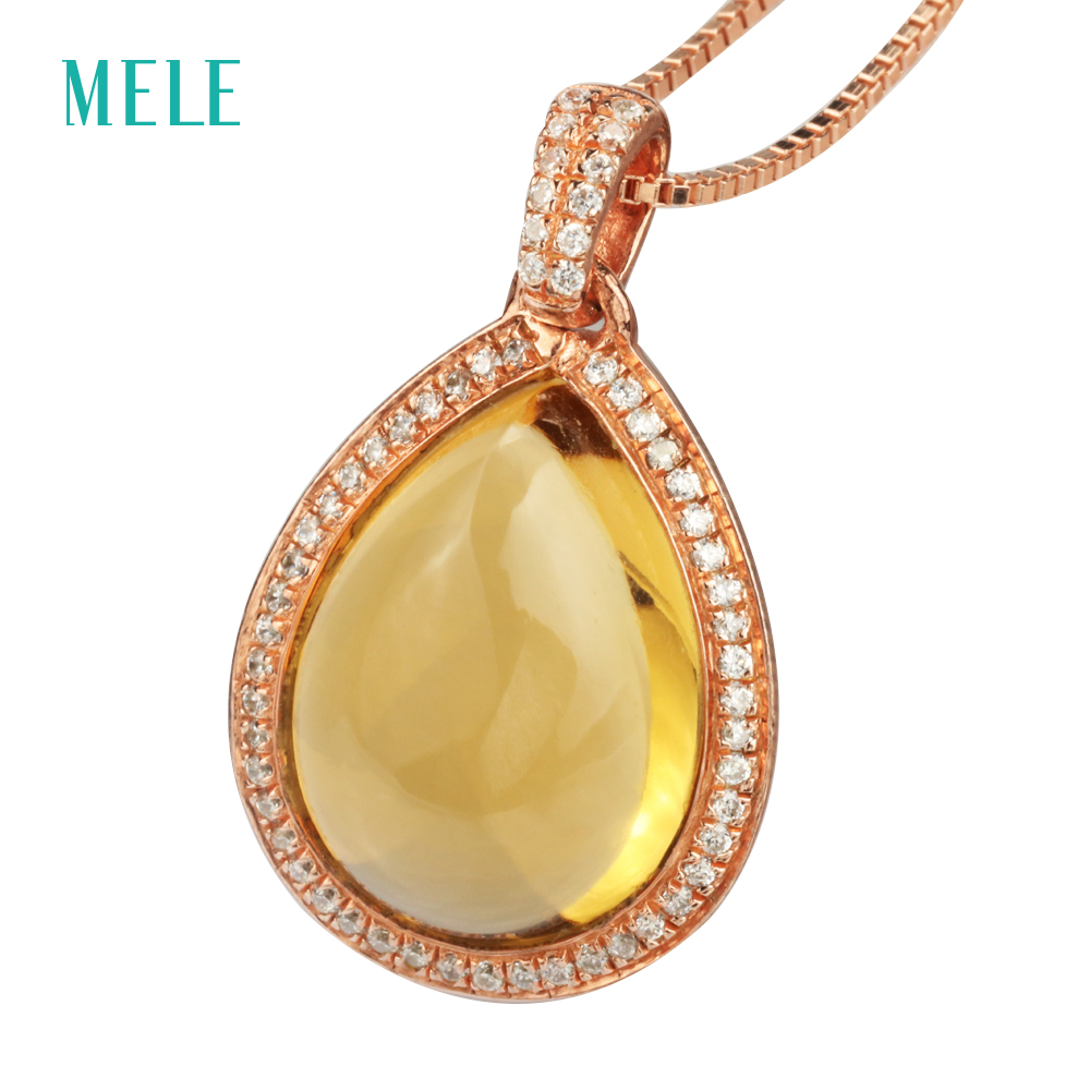 MELE Natural yellow citrine silver pendant, pears in 12mm*15mm, cabochon cutting, dark yellow color, classical pendant топ женский insight citrine yellow