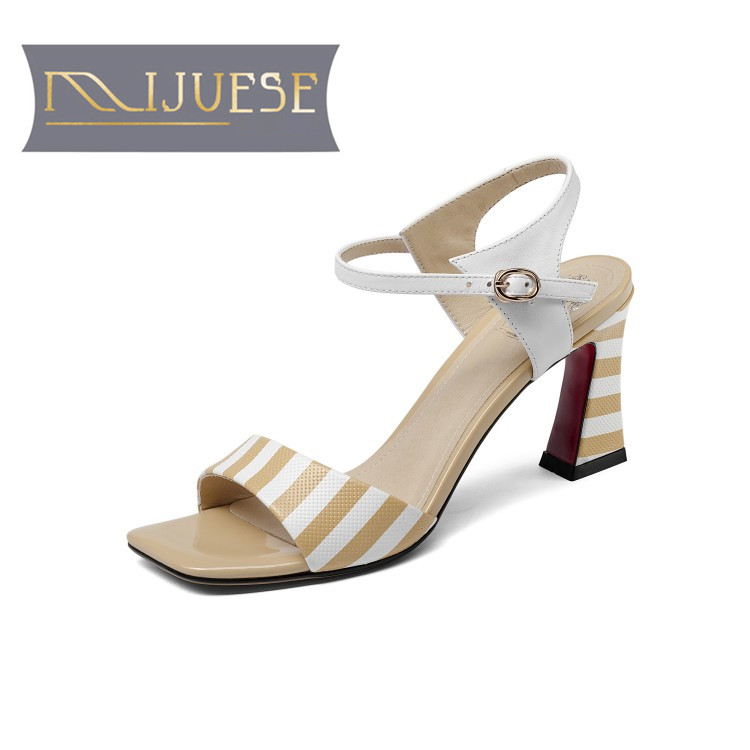 MLJUESE 2018 women sandals Genuine leather ankle strap black color white strip open toe high heels pumps women size 33-43 new fashion genuine leather t strap women high heels sexy pointed toe women pumps summer sandals in mixed black white size 35 40