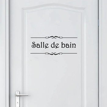 Porte Salle de bain et Toilettes French Bathroom Sticker-Free Shipping Bathroom Stickers