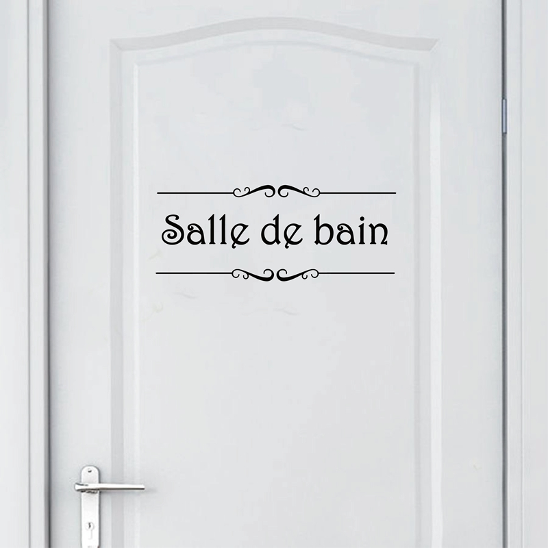 Porte Salle de bain et Toilettes Wall Sticker French Bathroom Toilet Door Wallpaper Mural Decals Vinyl Wall Sticker Home Decor(China)