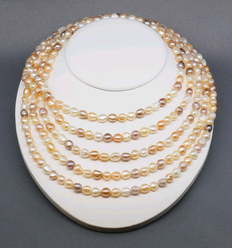 Free shipping 100 Endless 7 8mm Multi Color Baroque Pearl Necklace