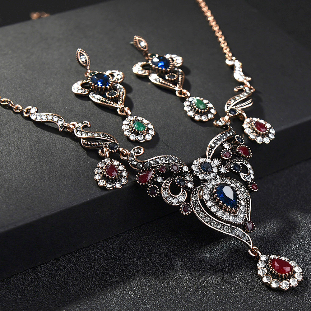 Ethnic Vintage Necklace Earring Sets for Wedding Red Pendants Chains Resin Crystal Bride Bridesmaid Wedding Jewelry Set