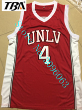 NEW Throwback Shirt Stitched Red Mens Basketball Jersey  Cheap 4# Larry Johnson UNLV 1989 Jersey Running Rebels Free Shipping