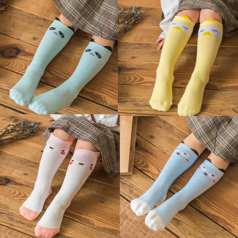 Girls Socks Knee High Kids Baby Cute Chicken Bear Print Cotton Socks Leg Warms Fall Cloth Boy Knee Sock Toddler Fashion