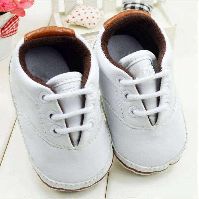 Infant Toddler Leather Crib Shoes Lace Up Stripe Sneaker Baby Prewalker