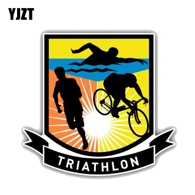 YJZT 12.7CM*11.6CM High Quality Triathlon Sport Logo PVC  Car Sticker 11-00187