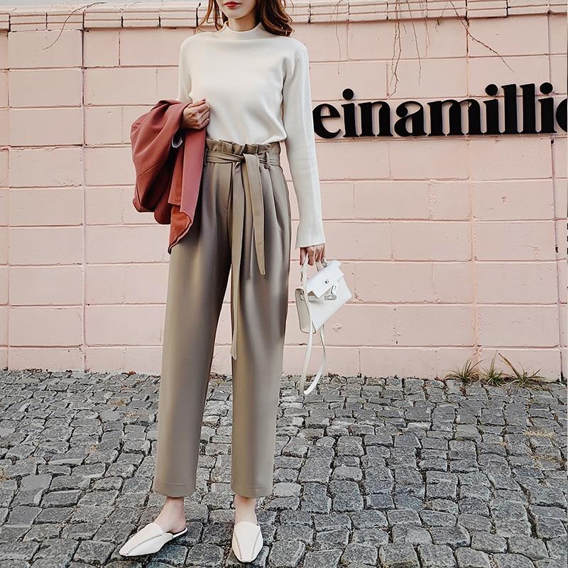 BGTEEVER High Waist Sashes Women Suit Pants Pockets Ankle-length Pencil Pants Elegant Female Trousers Pantalon Femme 2019