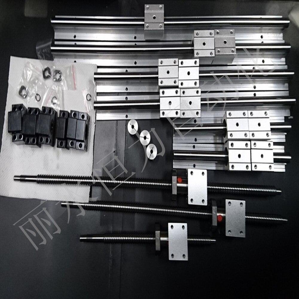 SBR16 линейных направляющих: 1500/1300/600 + швп SFU1605-1500/1300/600 мм + 3BKBF12 + 3 ballnut корпус + 3 связи 14-10