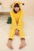 High quality fleece Anime Pokemon Pikachu Costume Animal Cosplay Pajamas Sleepwear cospaly