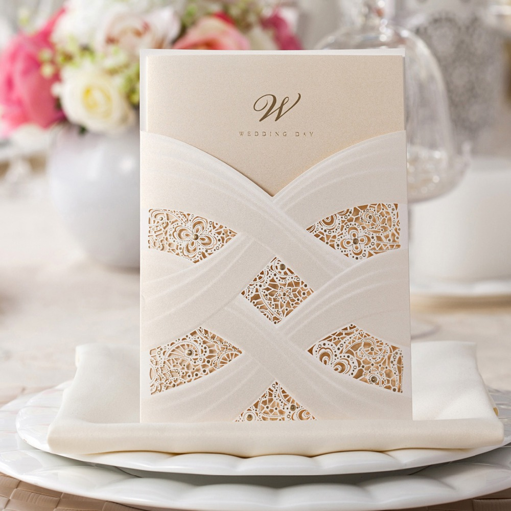 Aliexpress Laser Cut Wedding Invitations Cards White Lace Engagement For Marriage Cardstock Bride Shower Favors Supplies Cw060 From
