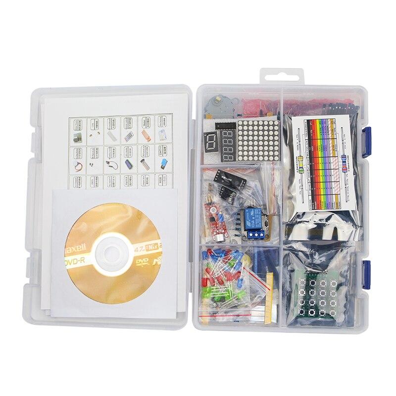 Bricolage kit de démarrage d'apprentissage LCD 1602 + capteurs + résistance + platine de prototypage + CD d'apprentissage pour UNO R3 pour Raspberry Pi 3/3B +