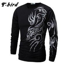 T-Bird Brand 2017 Mens T Shirt Dragons Printing Casual Male Long Sleeve T-Shirts Funny Men T-Shirts O-Neck Tshirt High Quality