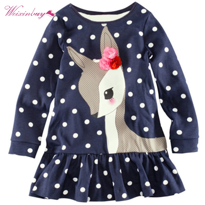 Kids Baby Girls Long Sleeve Lace Dress One-piece Dots Deer Cotton Dresses Toddlers Clothes toddlers girls dots deer pleated cotton dress long sleeve dresses page 10