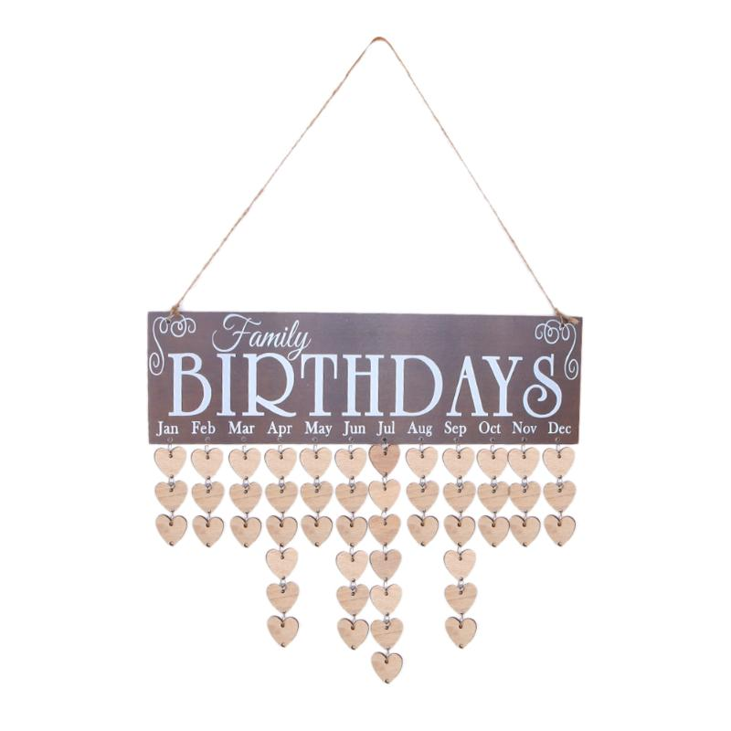 Wooden Calendar Board Family Special Dates Sign Birthday Mark Hanging Decor Gift for Friends Dates Sign Planner Mark Decor Gift diy fashion wooden birthday calendar family friends sign special dates planner board hanging decor gift decorate your home