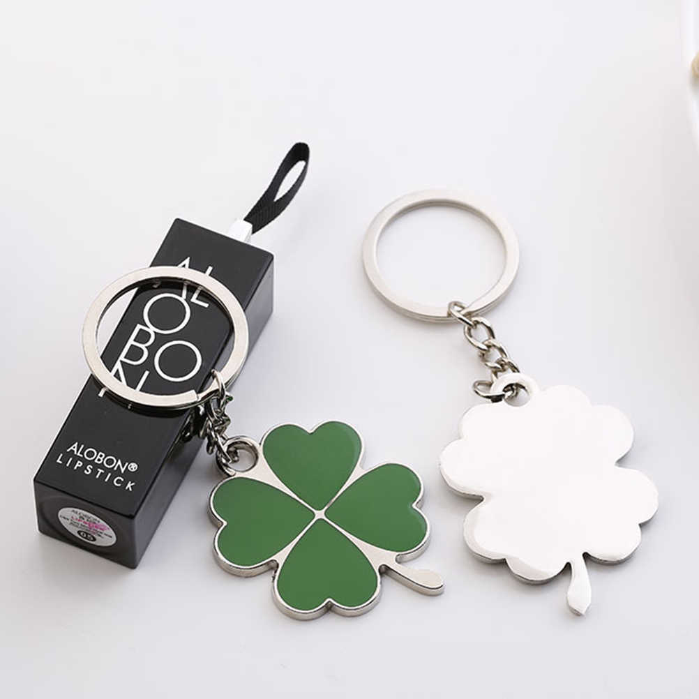 8e03f7de5d3 ... Lucky Four-leaf Clover Fortune Keychain Shamrock Sparkling Charm  Keyring Green Color Key Chain for ...