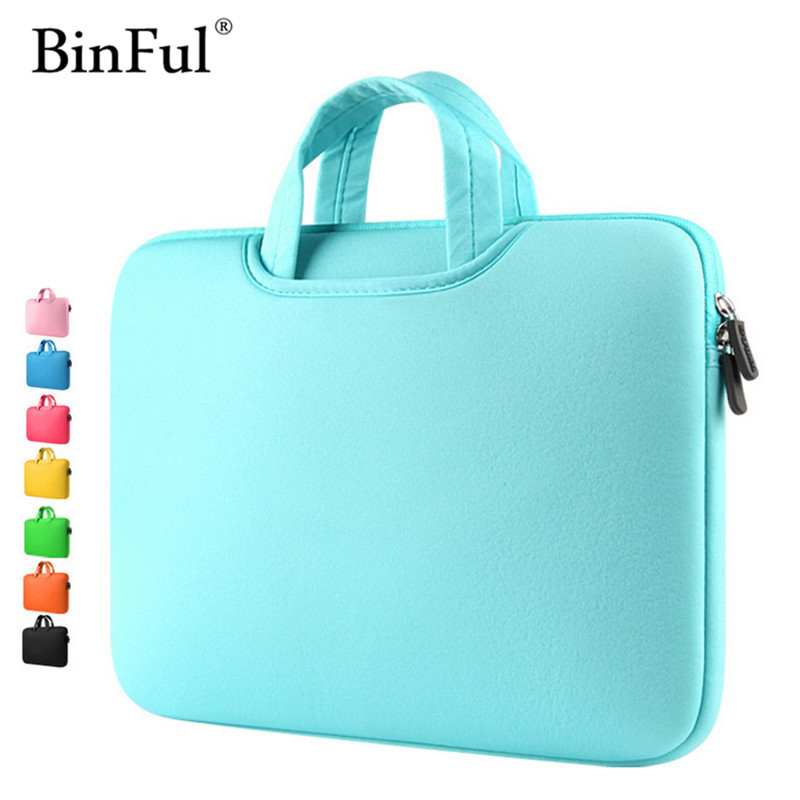 BinFul Multicolor Soft Laptop Sleeve 11 13 15 15.6 inch Laptop Bag Case For Macbook Air 13 Pro Retina 15 Notebook Bags 12'' 14'' new laptop bag for macbook pro air 13 case 11 12 13 15 15 6 laptop shoulder bag for asus acer dell hp 14 inch laptop sleeve