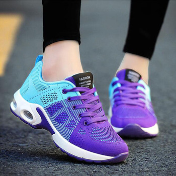2018 Brand New Fashion Running Shoes Breathable Cushioning Rubber Women Trainers Lace Up Flat Comfy Gym Sports Shoes C8176