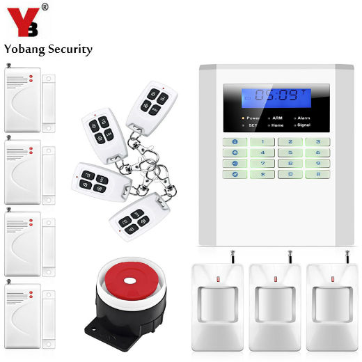 YobangSecurity English Russian Spanish Voice Home Security Wireless Wired PSTN GSM Alarm System LCD Keyboard 433MHz Door Sensor free shipping 99 wireless zone and 2 wired quad band lcd home security pstn gsm alarm system 3 pet immune pirs 5 new door sensor