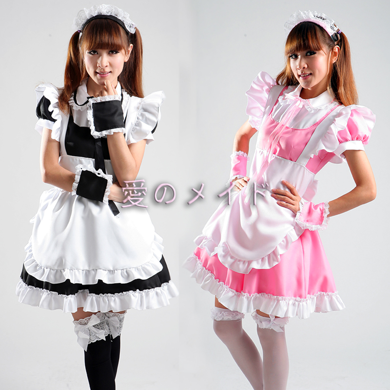 Free Shipping Cheap Lolita Maid  Anime Cosplay Clothes Costumes Halloween Dress
