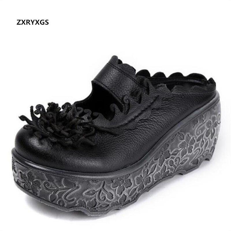 2019 nouvelles fleurs rétro été femmes sandales pantoufles plate-forme sandales à talons compensés talons hauts en cuir véritable chaussures de mode sandales
