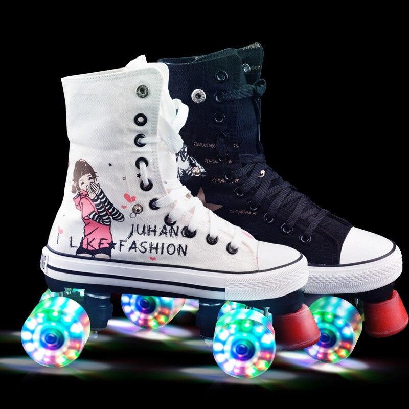 Professionnel Adulte Double Rangée Toile Figure Patins à roulettes Chaussures Pour Les Amoureux Deux Ligne Clignotant Roues Patines Unisexe Adulto IB18
