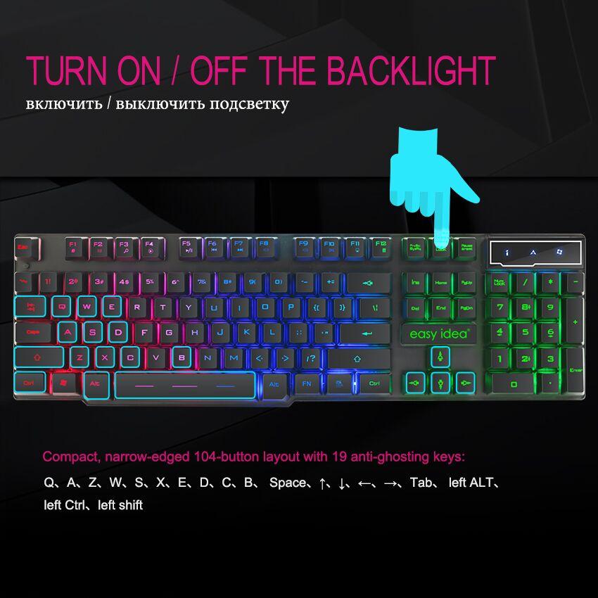 Gaming Keyboard Gamer Mechanical Imitation Keyboard Gaming RGB Keyboard  with Backlight Ergonomic Key Board 104 Keycaps for PC