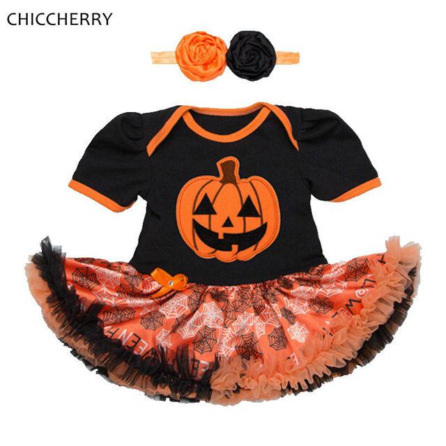 Abóbora Trajes de Halloween Do Bebê Infantil de Festa Vestido de Trajes de Halloween Da Menina Da Criança Roupas Das Meninas Da Forma Headband Vestido Bebe