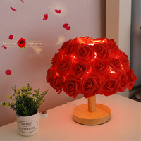 Thrisdar Romantic Rose Flower Table Lamp Wooden Warm Roses Bedside Sleeping Night Light Wedding Valentine's Day Gift Lamps