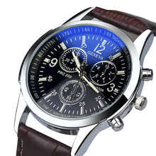 2019 Pria Jam Tangan Mewah Fashion Hitam Cahaya Biru Faux Leather Mens Analog Jam Tangan Pria Warna Gesper Dropshipping 40y(China)