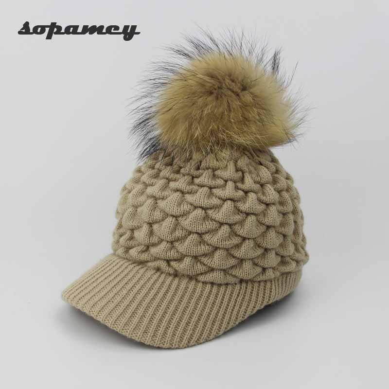 Knitted Baseball Cap Women Fashion Pompom Ball Hats Ladies Warm Hat Girls Autumn Winter Hat Cap Solid Gorras Wholesale