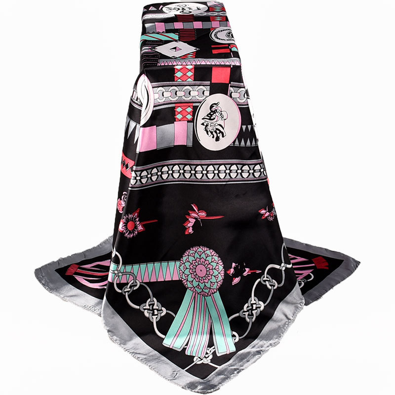 Women Silk   Scarves   90*90cm Large Square Satin Silk Like Lightweight Scarfs Hair Sleeping   Wraps   for Women Bandanas 2019