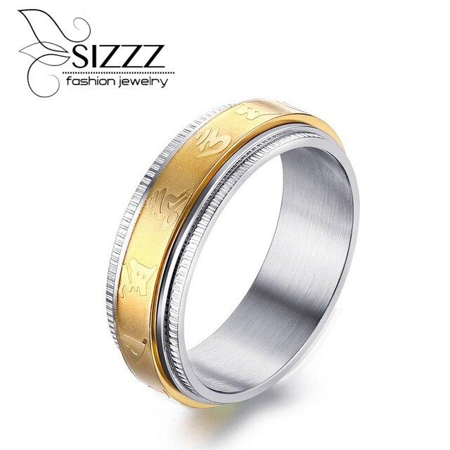 2535c47bc9a9 Sizzz hombres retro 7mm anillo giratorio de acero inoxidable SPINNER oro + acero  anillo mantra anillos