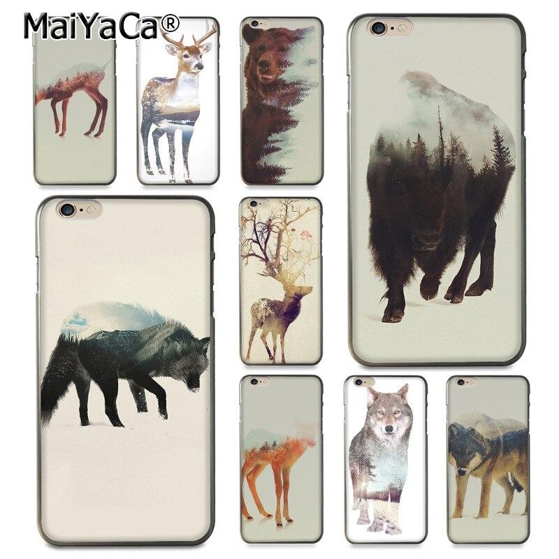 MaiYaCa Animal double exposure wolf bear deer wild boar Popular Case for iPhone X 6 6s 7 7plus 8 8Plus 5 5S 5C case coque