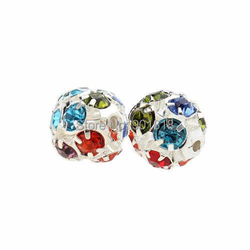 30 pçs/lote 6mm/8mm/10mm Ouro/Prata Rodada Pavimentar Esferas da Esfera do Disco Strass Cristal Spacer Contas para Jóias DIY Apreciação F2419