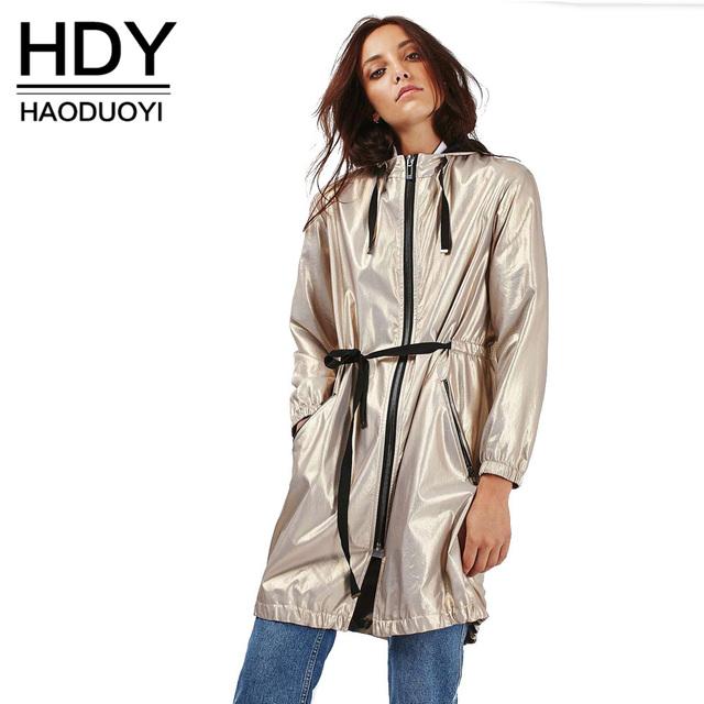 Hdy haoduoyi mujeres trench coat otoño de oro sólido de manga larga con cordón capa ocasional de cintura alta streetwear conformación elegante abrigo