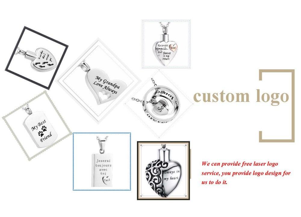 3Pcs cœur émail Memorial Pet Cendres Crémation Urne parfum flacon pendentif