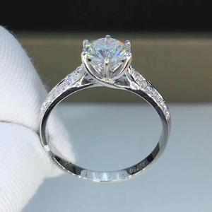 Image 3 - Round White Gold Moissanite Ring 1ct 6.50mm D VVS Luxury Moissanite Weding Ring for Women