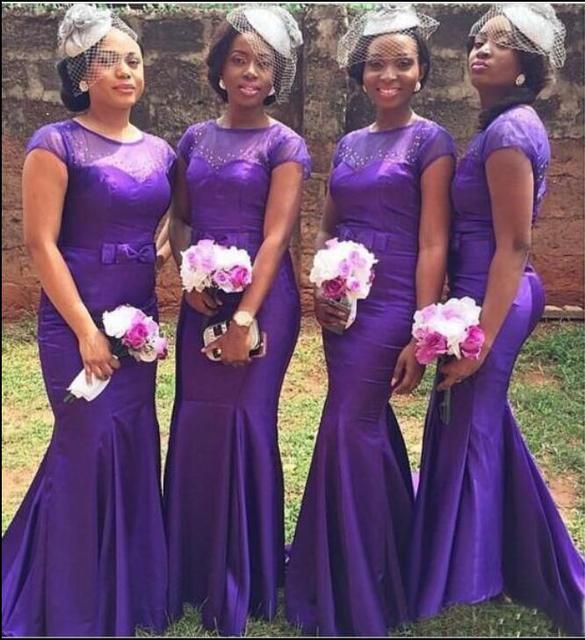 01ef803a8456 Purple Mermaid Long Bridesmaid Dresses With Short Sleeves Sheer Top Beaded  Formal African Black Girls Wedding Party Gowns Custom