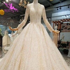 Image 1 - Aijingyu trem longo vestido de luxo mais novo pérola contas plus size rendas boho chique simples vestidos de casamento e casamento das mulheres vestidos