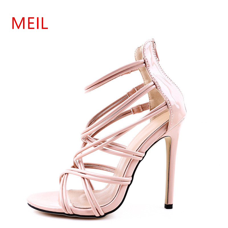 Cross Strap Sandals High Heels Gladiator Womens Summer Shoes Woman European American Style New Sexy Stiletto Gold