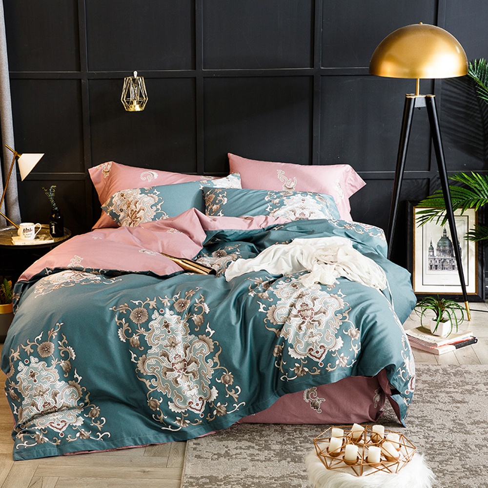 2018 european dark green pink duvet cover set soft egyptian cotton bed cover queen king. Black Bedroom Furniture Sets. Home Design Ideas