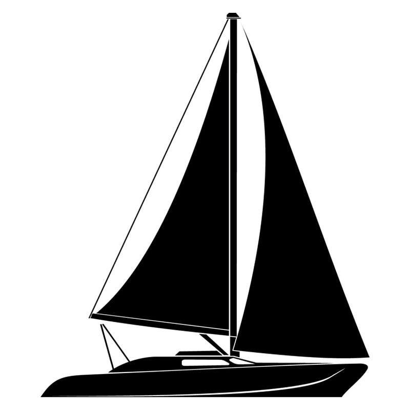 12.1cm*14.2cm Sail Boat Fashion Car Styling Decoration Vinyl Car Sticker Black/Silver S3-5009