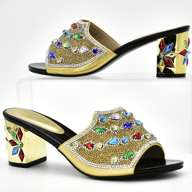New Arrival Gold Color Italian Matching Shoe and Bag Set Rhinestone Gold Shoe and Bag Set Shoe and Bag Set for Party In Women