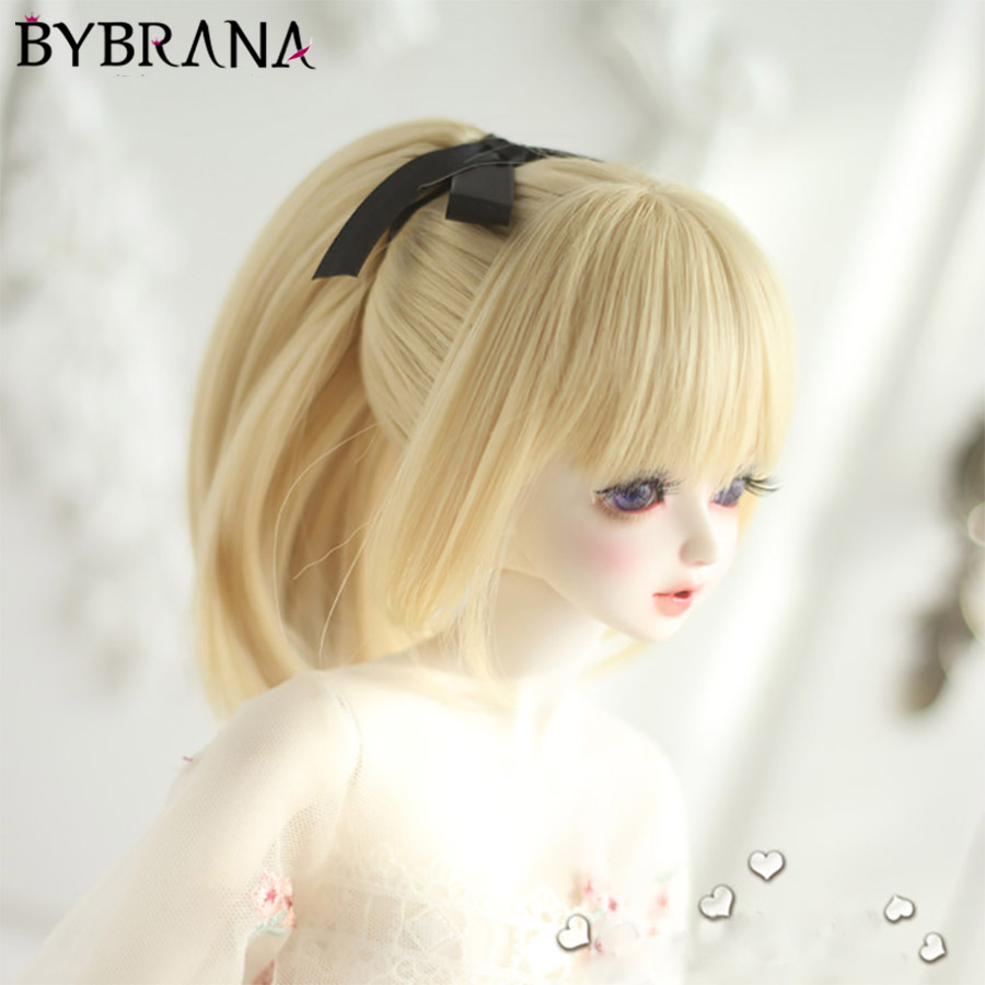Bybrana 1/4 Bjd SD Doll Hair For Dolls High Temperature Wire Long Retro Style Synthetic 1/3 Scale Doll Wig For Dolls Accessories